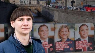 Ett broräcke i Stockholm med Socialdemokraternas valaffischer på, med en bild på Felix Finnveden monterad över
