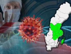En karta över Sverige med Region mitt utmärkt, monterat över en bild på en läkare i skyddsmask och en illustration av coronaviruset