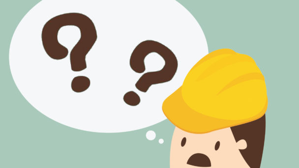 En tecknad person i bygghjälm, med ledsen mun och en tankebubbla med frågetecken i