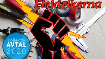 En tecknad höjd näve som håller i en blixt, över en samling verktyg och med en ikon i hörnet där det står Avtal2020