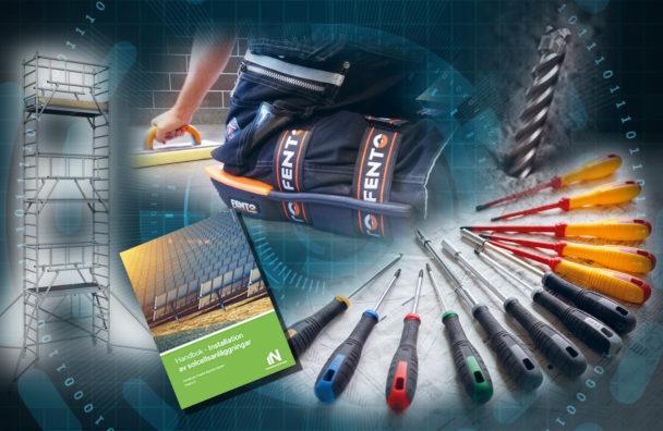 Bilder på ett antal teknikprodukter, mot en bakgrund av en abstrakt datorillustration av en blå cirkel med cybertema