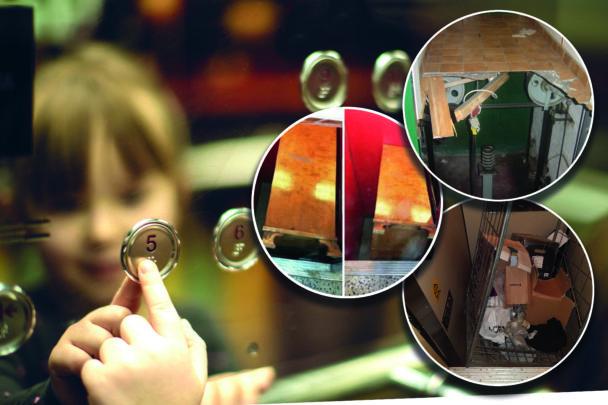 Ett barn speglas i knappanelen i en hiss. Monterat över är bilder på olika olycksdrabbade hissar