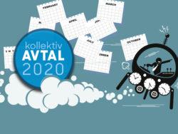 En tecknad person i ett rymdskepp med flera klockor på. I molned som bildas efter farkosten vilar en ikon för Avtal 2020, och över scenen regnar kalenderblad.