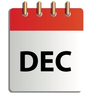 Ett tecknat kalenderblad för december