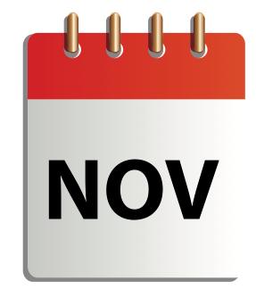 Ett tecknat kalenderblad för november