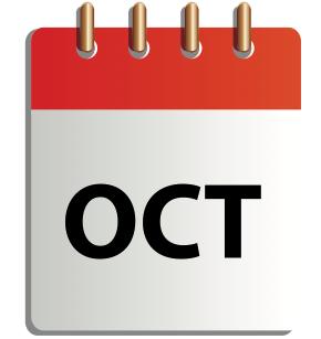 Ett tecknat kalenderblad för oktober