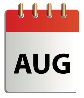 Ett tecknat kalenderblad för augusti