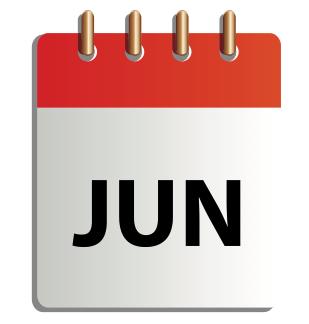 Ett tecknat kalenderblad för juni