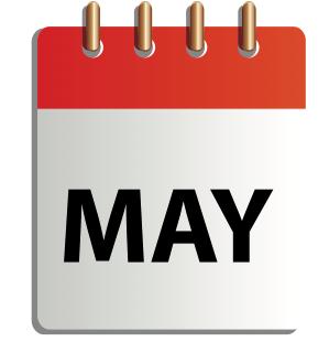 Ett tecknat kalenderblad för maj
