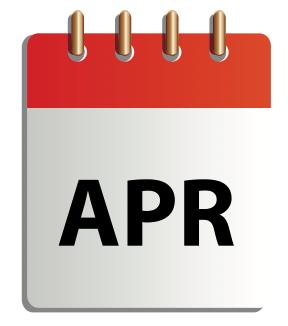 Ett tecknat kalenderblad för april