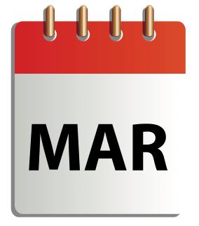 Ett tecknat kalenderblad för mars