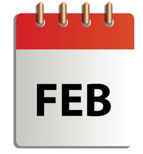 Ett tecknat kalenderblad för februari