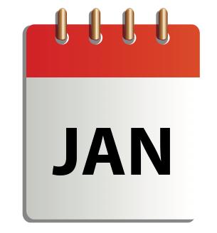 Ett tecknat kalenderblad för januari