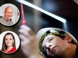 En ung person i skyddshjälm mäter spänning med ett verktyg. Foton på Eva Adermark och Peter Bengtsson är monterade över.