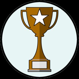 En tecknad bronspokal