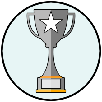En tecknad silverpokal