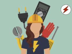 En tecknad person med en blixt på tröjan, bland flera olika elektriker-verktyg