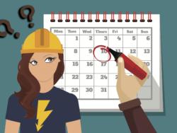 En tecknad person med bygghjälm och en blixt på sin t-shirt tittar på en kalender