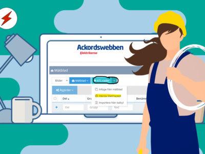 En tecknad elektriker med långt hår står framför en en datorskärm med Ackordswebben på