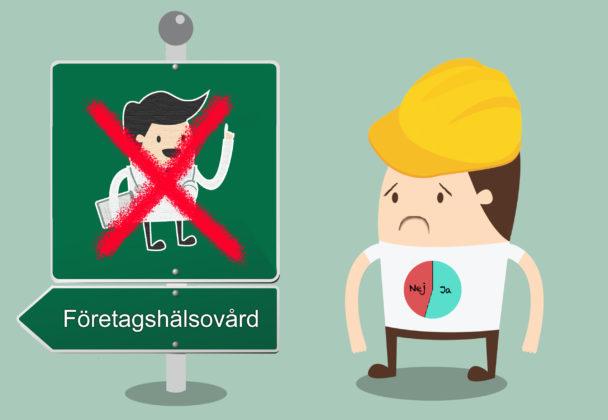 en tecknad person i bygghjälm bredvid en skylt med en överkryssad läkare och texten Företagshälsovård. Figuren har ett cirkeldiagram på sin tröja som nästan visar häften hälften rött och grönt.