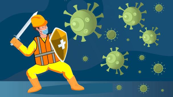 En tecknad byggnadsarbetare försvarar sig med svärd och sköld mot ett gäng tecknade coronavirus