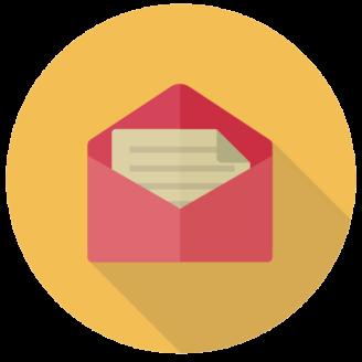 Ett tecknat kuvert med ett brev i