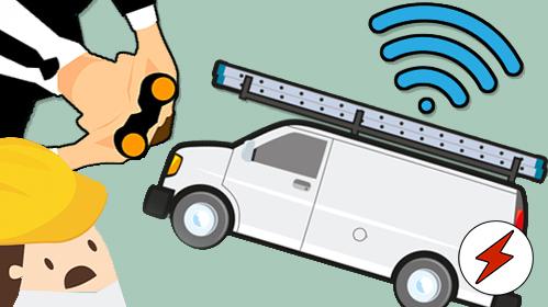 EN tecknad skåpbil med symbolen för en GPS-signal över sig. Från ena hörnet tittar en kostymklädd person med kikare, och från det nedre hörnet en förskräckt person i bygghjälm.