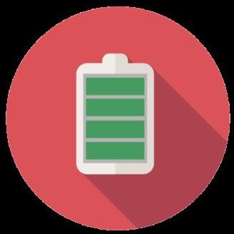 En tecknad ikon för fullt batteri
