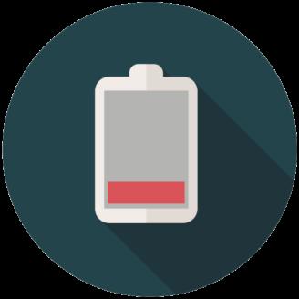 En tecknad ikon för tomt batteri
