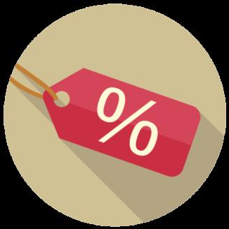En tecknad prislapp med ett procent-tecken på