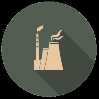 Ett tecknat stiliserat kärnkraftverk