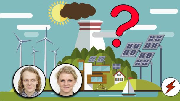 Olika tecknade kraftverk, ed ett rött frågetecken monterat över och foton på Jakob Sahlin och Anna Guldbrand,