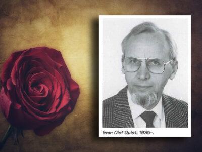Ett porträttfoto av Sven Olof Quist bredvid en röd ros