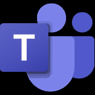 Ikonen för Microsoft Teams: Två stiliserade människofigurer invid en ruta med ett T i.