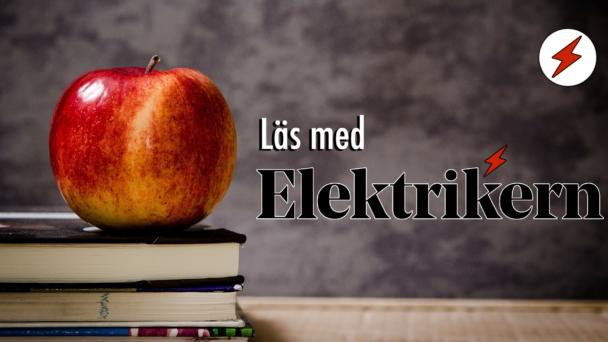 Ett rött äpple på en hög böcker, invid texten Läs med Elektrikern