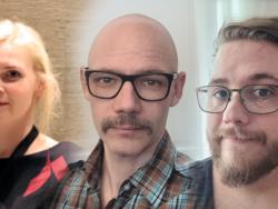 Ett bildmontage på Nina Alexandersson, Andras Molnar och Joel Larsson