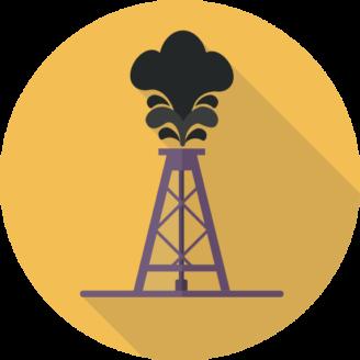 Ett tecknat oljeborrtorn med ett moln ovanför