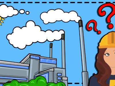 En tecknad bild av Karlshamnsverket, med en tecknad elektriker och röda frågetecken bredvid