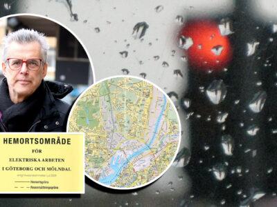 Ett rött trafikljus sett genom en regnig glasruta, med foton på Thomas Sandgren och en karta monterat över