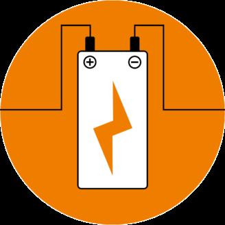 Ett tecknat batteri med sladdar från plus och minuspolerna