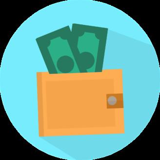 Tecknade sedlar i en plånbok