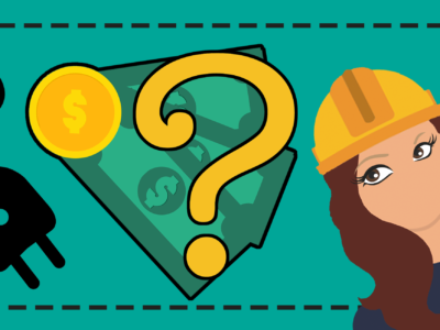 En tecknad elektriker som tittar på tecknade pengar med ett frågetecken över