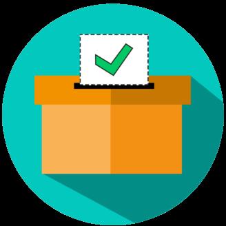 En tecknat rösturna med en röstsedel i