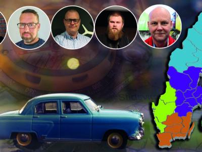 En blå leksaksbil monterad över en sverigekarta, invid en tecknad silhuett över sverige och Elektrikerförbundets olika regioner. Fem vk-ledares porträtt är monterade över bilden.