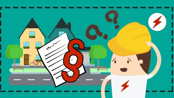 En tecknad elektriker med frågetecken över huvudet, som tittar på ett par hus och ett papper med ett paragraftecken på