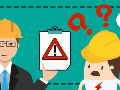 En tecknad chef håller fram et papper med en varningssymbol på mot en tecknad, skärrad elektriker