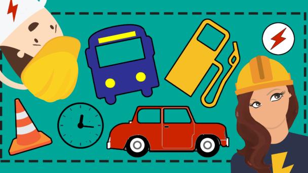 Två tecknade elektriker som tittar på tecknade bilar, en klicka och en tankstation.
