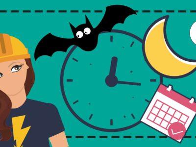En tecknad elektriker tittar på en klocka som visar efter midnatt, en fladdermus, en måne och en kalender.