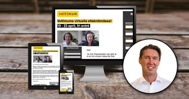 En dator, mobil och läsplatta varsskärmar visar bild på Voltimums hemsida
