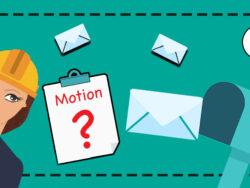 En tecknad elektriker tittar på en postlåda med Elektrikernas logga, och ett papper där det står motion och ett frågetecken